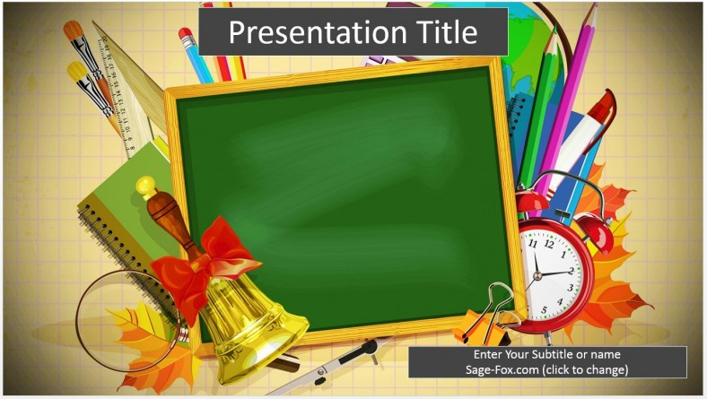 Free school supplies cartoon powerpoint template 6498 sagefox by james sager toneelgroepblik Image collections