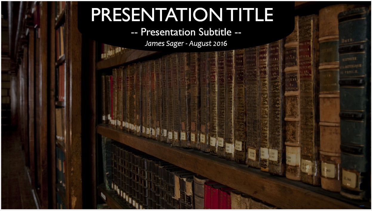 Free old books in library powerpoint template 10740 sagefox by james sager toneelgroepblik Choice Image