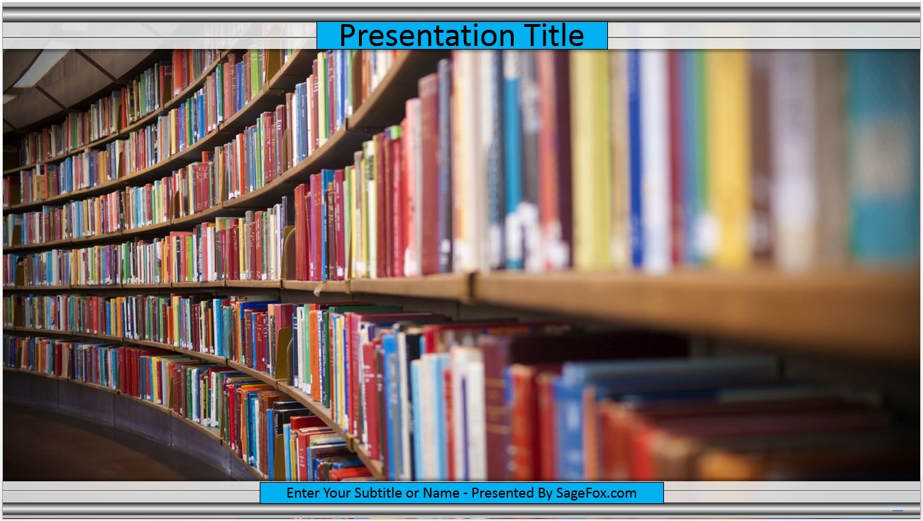 Free library books powerpoint template 9597 sagefox powerpoint by james sager toneelgroepblik Choice Image