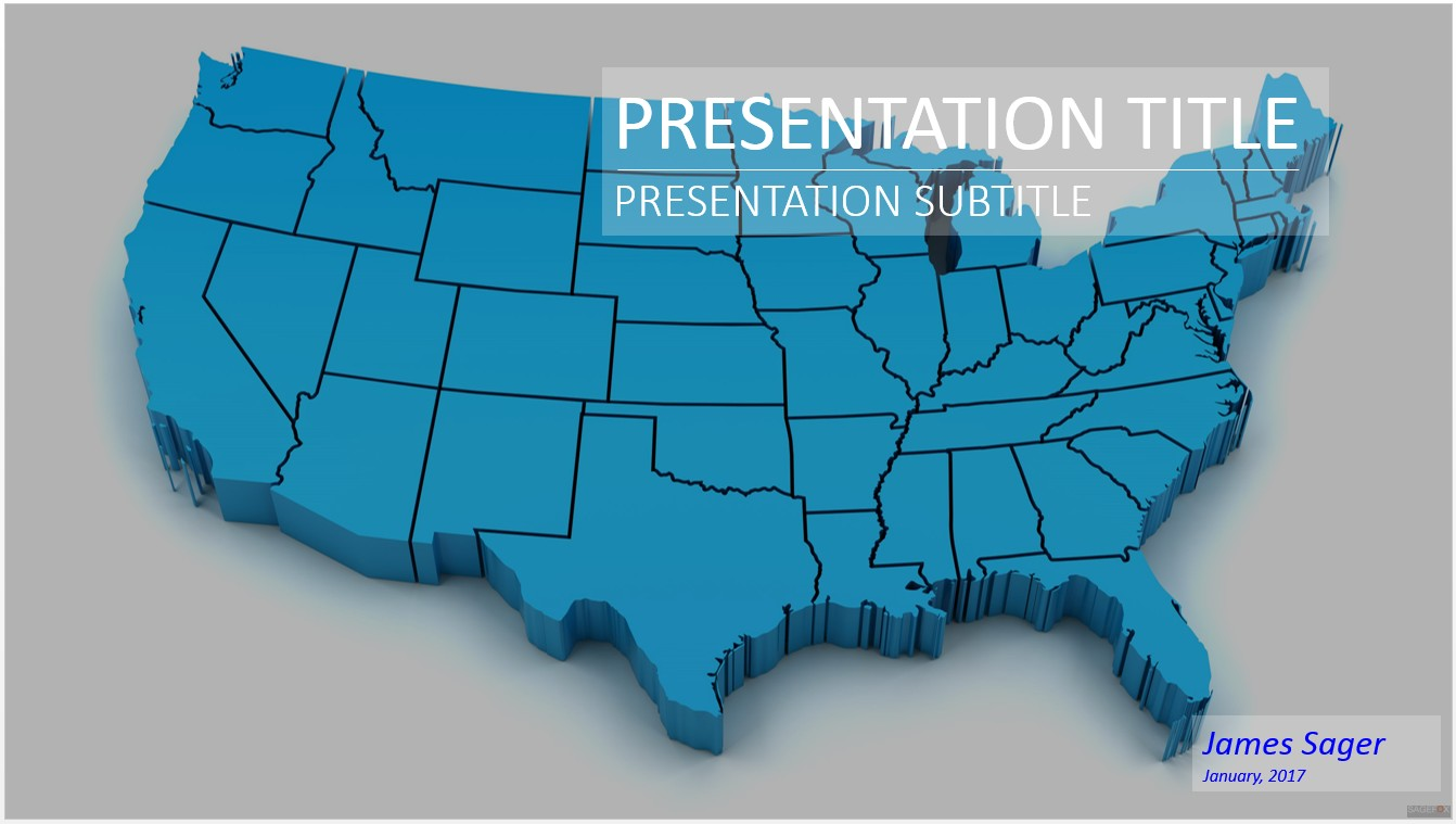 Free 3d Map of US PowerPoint 16143 SageFox PowerPoint Templates
