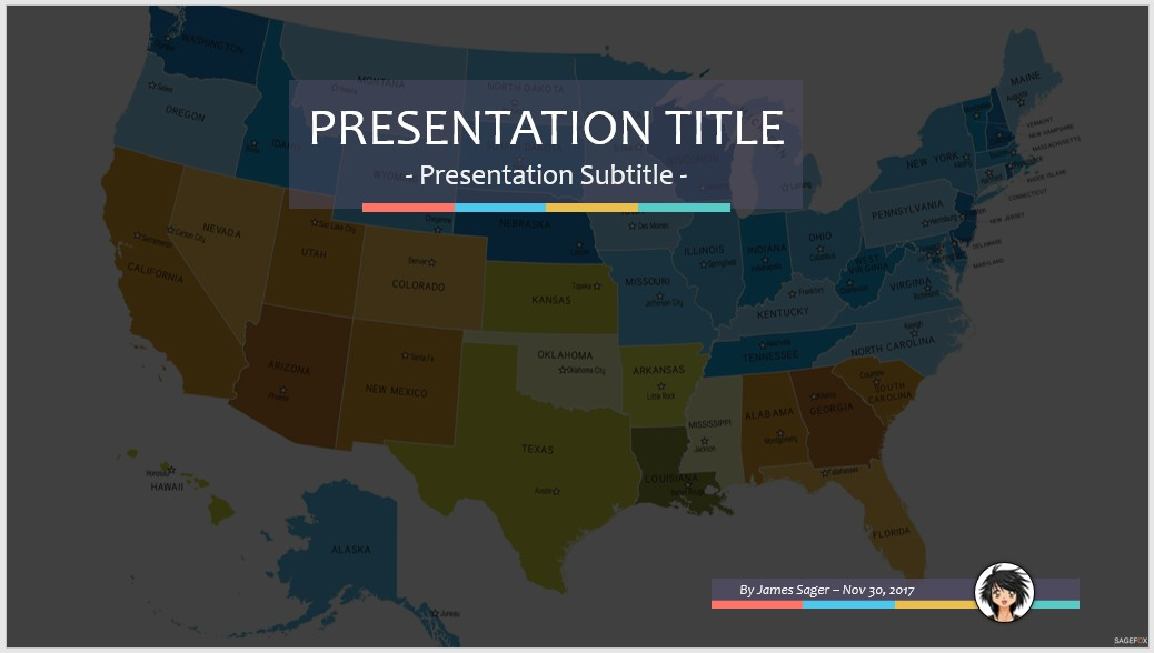 Free Usa Map Ppt 71492 Sagefox Powerpoint Templates